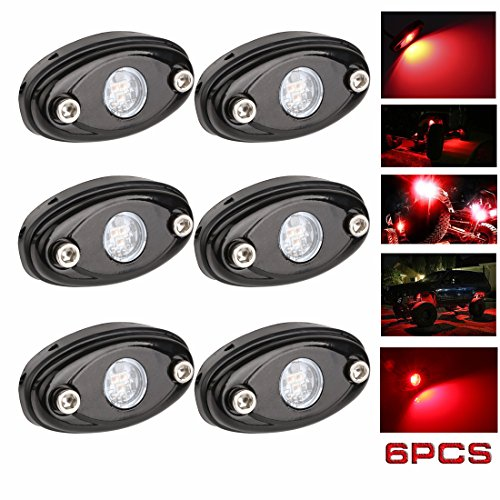 (LEDMIRCY LED Rock Lights Red Kit for JEEP Off Road Truck ATV SUV Car Auto Boat High Power Underbody Glow Neon Trail Rig Lights Underglow Lights Waterproof Shockproof(Pack of 6,Red))