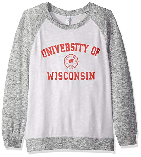 chicka-d NCAA Officially Licensed University of Wisconsin Ladies Cozy Crewneck Lightweight Sweatshirt/Sweater- Wisconsin Badgers Women's ()