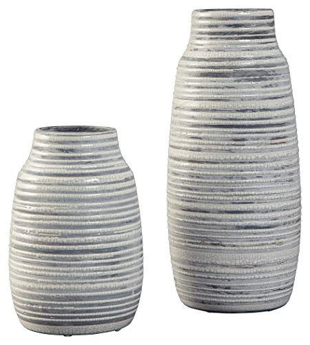 Ashley Furniture Signature Design - Donaver Vase - Set of 2 - Gray/White