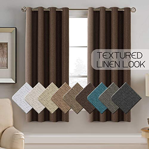 Ivory Brown New Wave - Premium Linen Curtains for Bedroom 63 Inches Energy Efficient Christmas Linen Curtain Panels Room Darkening Rich Linen Short Curtain Drapes, Primitive Grommet Window Treatment, Cocoa Brown, 1 Panel