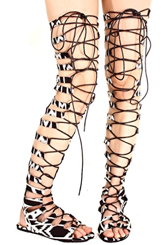 Knee High Open Toe Heels (ATHENA ZEBRA ATHENA PRINT LACE UP ATHENA STRAP FAUX LEATHER OPEN TOE GLADIATOR KNEE HIGH SANDALS 7 black/white )
