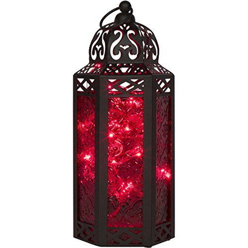Red Glass Moroccan Style Lantern with LED Fairy Lights