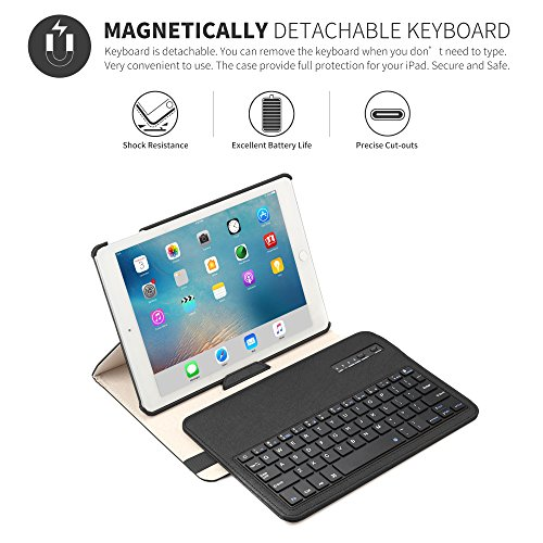 New iPad 9.7 2018 2017/iPad Pro 9.7/iPad Air 2/ iPad Air 1 Keyboard Case,Boriyuan 360 Degree Rotating Stand PU Leather Smart Cover with Detachable Wireless Bluetooth Keyboard for iPad 9.7 inch- Black by Boriyuan (Image #2)