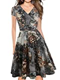 oxiuly Women's Chic V-Neck Vintage Floral Work Party Cocktail Swing Casual Summer Dress OX233 (2XL, Coffee Floral)