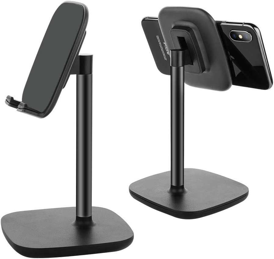 Cell Phone Stand,Adjustable Cell Phone Stand Holder and Desktop Stand Compatible for All Android All iPhone Samsung Phone Tablet Smartphone Stand Convenient Charging (Black)