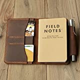 Personalized Leather Refillable Composition Notebook Cover for pocket size Field Note, Moleskine Cahier with pen holder 3.5''x5.5'' Distressed Brown