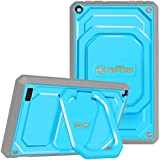 Fintie Shockproof Case for All-New Amazon Fire 7 (7th Gen, 2017 Release) - [Tuatara Magic Ring] [360 Rotating] Multi-Functional Grip Stand Protective Carry Cover w/Built-in Screen Protector, Blue