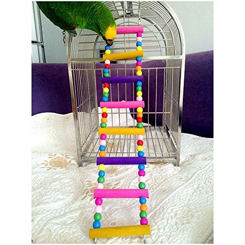 EchoAcc® Divertido Columpio de Madera Escalera de Pájaro del Poro, Puente Arrastrándose Estante del Juguete de la Jaula (8 Conductores)