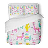 SanChic Duvet Cover Set Sweet Llama Alpaca Cactus on White Dots South America's Pattern Goods Cute Decorative Bedding Set Pillow Sham Twin Size