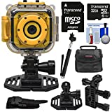Precision Design K1 Kids HD Action Camera Camcorder (Yellow/Black) Helmet & Handlebar Bike Mounts + 32GB Card + Case + Selfie Stick + Kit