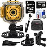 Precision Design K1 Kids HD Action Camera Camcorder (Yellow/Black) with Helmet & Handlebar Bike Mounts + 32GB Card + Case + Selfie Stick + Kit