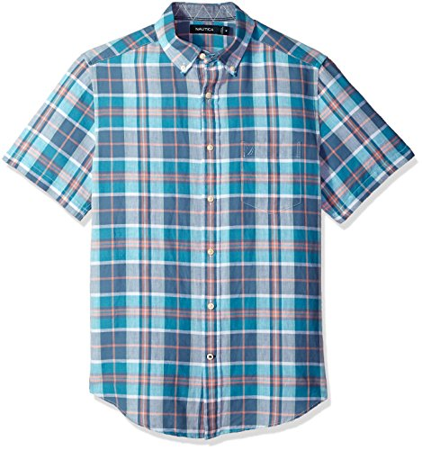 Nautica Mens Short Sleeve Classic Fit Plaid Linen Button Down Shirt
