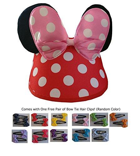 Mickey/Minnie Mouse Style Hat Visor Ears Cap Boys, Girls, Children, Adults, Parties, Disneyland, Festivals, Halloween (W/Free Pair of Random Colored of Polka Dot Hair Clips [Pink Ear Visor])