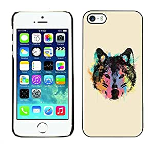 Slim Design Hard PC/Aluminum Shell Case Cover for Apple Iphone 5 / 5S Neon Wolf Face / JUSTGO PHONE PROTECTOR
