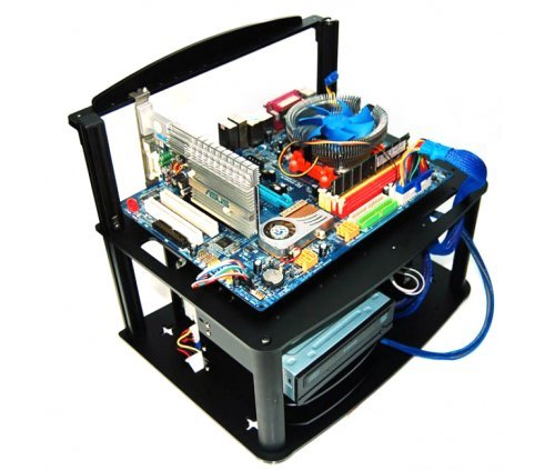 DIYPC Alpha-GT3 Black Acrylic and Aluminum ATX Bench Case Bench Computer Case for ATX/Micro ATX motherboard – PC components not included