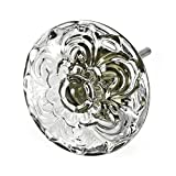 Discount Drawer Glass Knobs Fancy Dresser Pulls Cabinet Handles 12 Pack T100VM Clear Embossed Daisy Knob with Antique Bronze Base. Romantic Decor & More