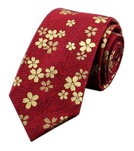 Mens Dark Red 100% Premium Cotton Handmade Boys Gold Floal Skinny Tie 2