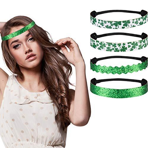 Zhanmai Irish Green Hairbands St Patricks Day Clover Headband Hairbands Lady Women Girls Hair Accessories -