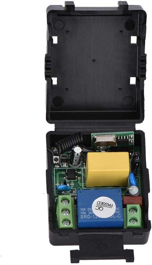 Syst/ème de Relais de Commutation /à t/él/écommande sans Fil /à 1 Canal 220V Distance de Transmission 200 m avec 4 pcs T/él/écommande pour Alarme antivol Portes et fen/êtres /électriques