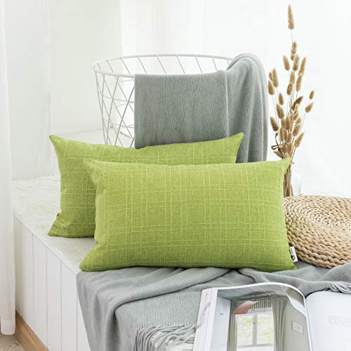 Kevin Textile Lined Linen Rectangular Accent Throw Pillow Cover Cushion Cover for Bedroom, Set of 2, 12x20 inches, Glow Green