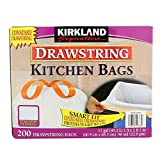 Kirkland Signature Drawstring Kitchen Trash Bags - 13 Gallon - 200 Count (5 Pack)