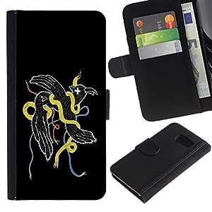 Ihec-Tech / Flip PU Cuero Cover Case para Samsung Galaxy S6 SM-G920 - Cool Abstract Weird Bird Snake
