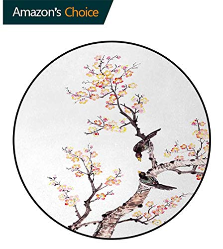(DESPKON-HOME Art Round Area Rug Carpet,Traditional Chinese Paint of Flowers Plum Blossom Birds On Tree Romance Print Living Dinning Room and Bedroom Rugs Round-55 Inch,Pale Yellow Brown)