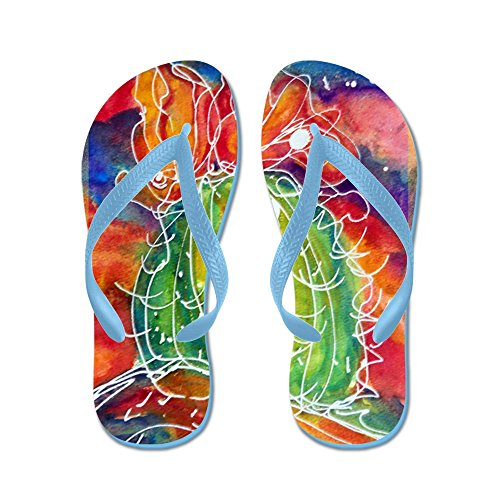 Cafepress Kaktus, Sydväst Konst! - Flip Flops, Roliga Rem Sandaler, Strand Sandaler Caribbean Blue