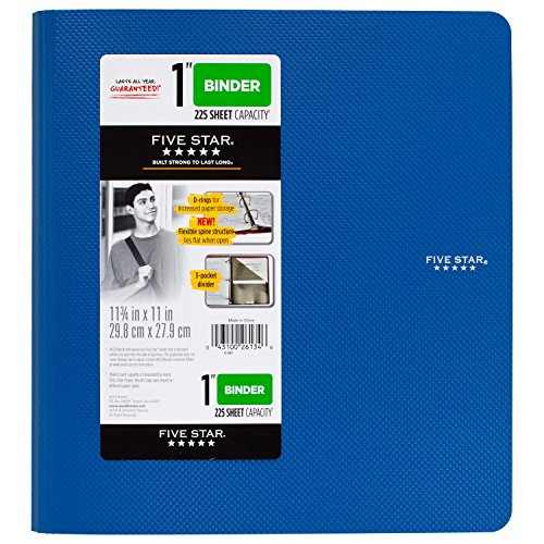 Five Star 1 Inch 3 Ring Binder, Plastic, Blue (38900)