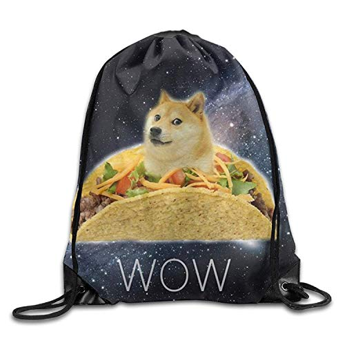 Dicobrune Unisex Drawstring Backpack, In Space Doge Harmber Unisex Gym Drawstring Shoulder Bag Backpack String Bags