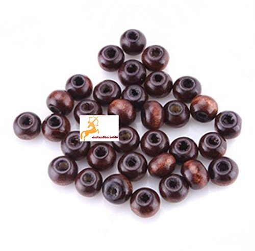 IndianStore4All Natural Eco-Friendly Wood Jewelry Making Loose Beads Bulk Lot 6mm Brown Wood Spacer Beads - 500Pcs/Pack (Wood Beads Rosewood)