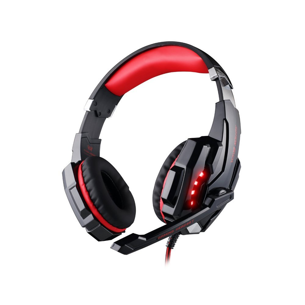 Stereo Surround Sound Gaming Headset G9000 3.5mm Noise Cancelling Headphone with Mic Volume Control for PC Mobile Phones Black and Red