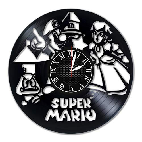 Super Mario Wall Clock Vinyl Wall Clock Art Gift Room Modern Home Record Vintage Decoration Gift for Fans Home & Office Bedroom Nursery Room Wall Decor - Customize Your Clock !