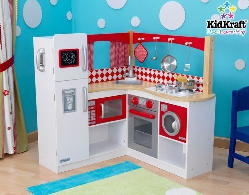 New Kidkraft Wooden Red Corner Kitchen