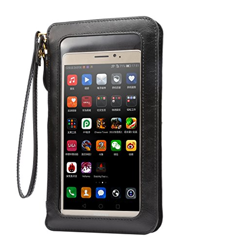 THRRLY Touch Screen PU Leather Crossbody Bag, Universal Phone Wallet Pouch Shoulder bag for iPhone X/8 Plus/8,Samsung Galaxy S9 Plus/S9/Note 8 and more. (Black)