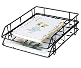 PAG Metal Stackable File Document Letter Tray Office Supplies Desk Organizer, Set of 2, Black