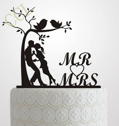 Wedding Cake Topper Silhouette Bride and Groom , Elegant and romantic MR & MRS With Tree and birds Cake Topper wedding idea