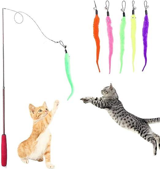 HO2NLE Caña Gato Juguete Interactivo 5pcs Juguetes Plumas Gatos Colores Llamativos +1 pcs Varita Retráctil Cat Toys Interactive Juguetes para Gatos Plumas Gatitos Mascotas Divertido: Amazon.es: Productos para mascotas