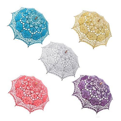 TopTie Lace Umbrella Wedding Parasol Bridal Shower Decoration Photograph Costume-Purple2 by TopTie (Image #2)