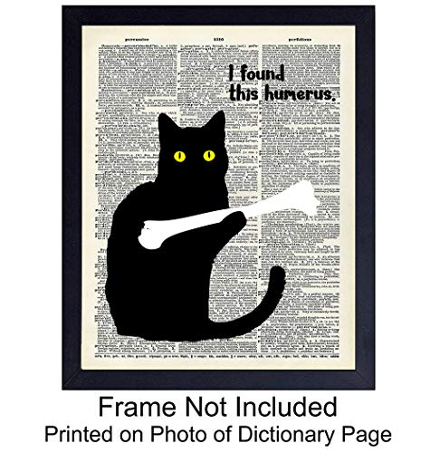 Funny Cat Unframed Dictionary Wall Art Print - Perfect Affordable Gift - Chic Vintage Home Decor - Great for Living Room, Home Office - Ready to Frame (8x10) Photo ()
