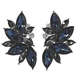 Crystal Teardrop Flower Design Studs