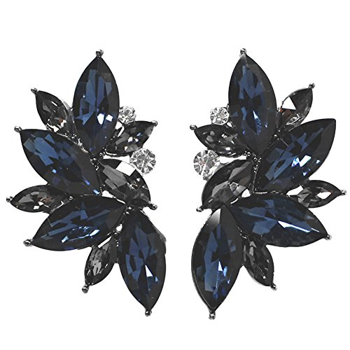 - Xdaccgo Luxury Leaves Shape Glass Cluster Crystal Teardrop Flower Design Studs Earrings (Blue)