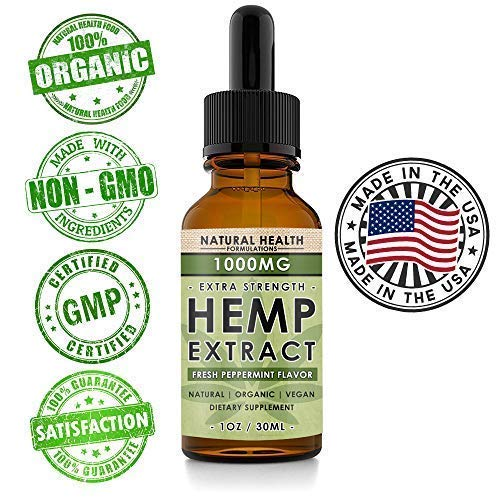 (Hemp Oil 1000mg - Premium Extract Formula for Pain Relief, Anxiety, Depression & Stress - 33mg Per Serving x 30 Servings (1000mg) - Anti-Inflammatory Omega 3/6 – Organic & Non GMO – Fresh Mint Flavor)