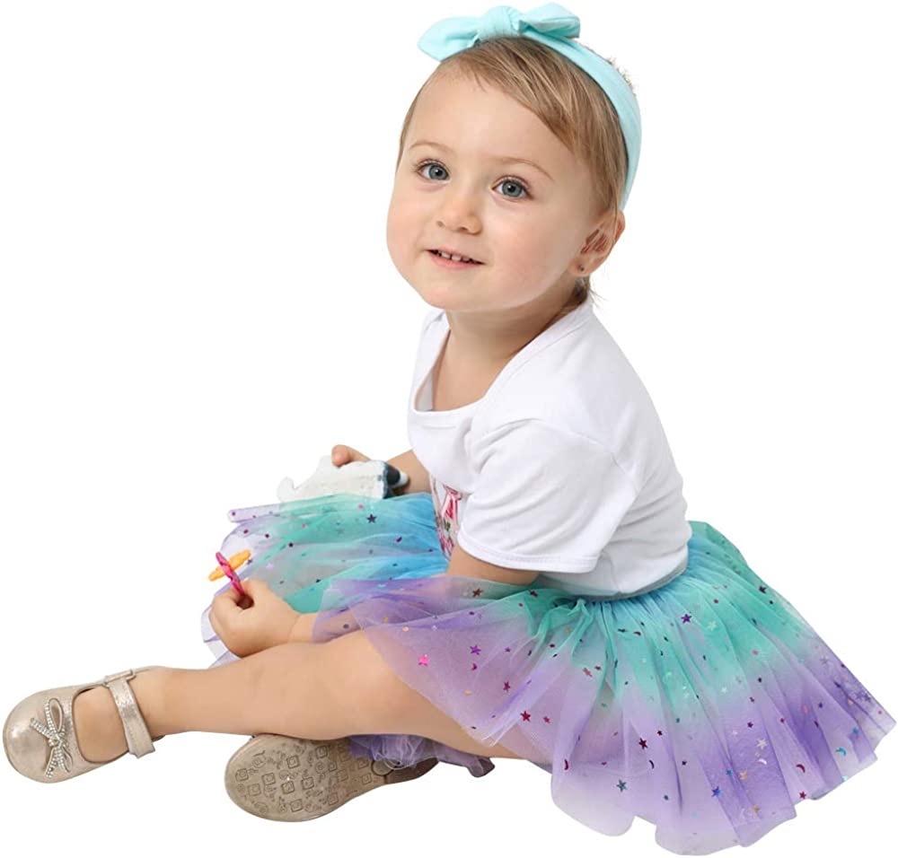 Elastic Puffy Tulle Skirt for Baby Girls 4 Layered Tulle Rainbow Dancing Tutu