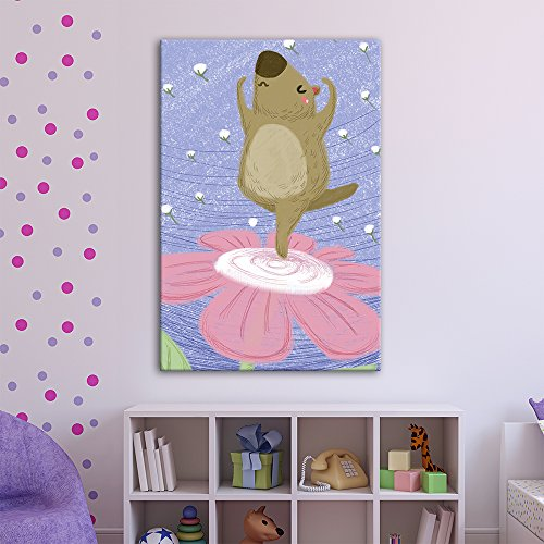 Cute Cartoon Animals A Tapir Dancing on a Flower Kid's Room Wall Decor