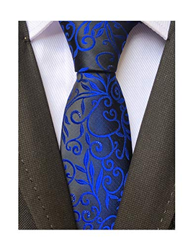 Narrow Blue Ties Silk (Men's Royal Blue BLACK Jacquard Silk Narrow Ties Bridegroom Funny Neckties Gifts)