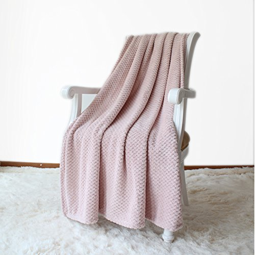 Simple&Opulence Solid Coral Jacquard Dot Velvet 50 X 60-Inches Throw Blanket, Pink (Blanket Pink Throw)