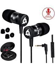 KLIM™ Fusion Earphones - Long-Lasting Earbuds Headphones with Microphone + 5 Years Warranty - Perfect for Sports, Travel, Music - Innovative in-Ear Memory Foam - 3.5mm Jack - 2020 Version - Black