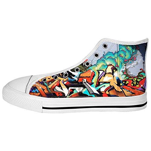 Chaussures De Toile De Femmes De Graffiti Faites Sur Commande Les Chaussures De Lacets Baskets