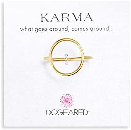 Dogeared Karma Medium Smooth Ring, Gold Dipped